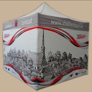Saliekama āra telts ar pilnu apdruku